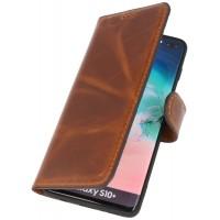 MF Handmade Leer Bookstyle Hoesje Samsung Galaxy S10 Plus Bruin